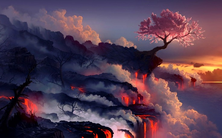 939590-artwork-cherry-blossoms-daniel-conway-drawings-landscapes-lava-rocks-sea-smoke-trees